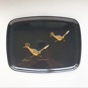Mid Century Couroc Black Inlaid Roadrunner Tray